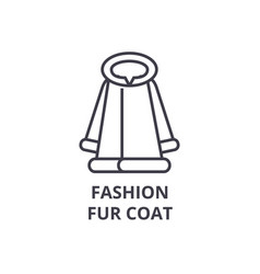 fashion fur coat line icon outline sign linear vector image