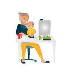 Flat people working from home remote work vector