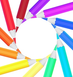 Frame of colored office pencils in a circle vector image