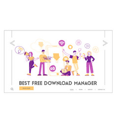 Free download landing page template characters at vector