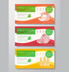 Fresh fruits label templates set abstract vector