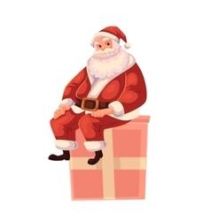 Full length portrait of Santa sitting on a gift vector image