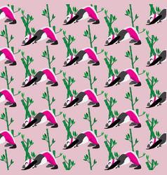 funny panda pattern doing yoga seamless pattern vector image
