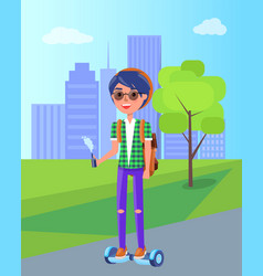 girl riding on segway personal transporter in park vector image