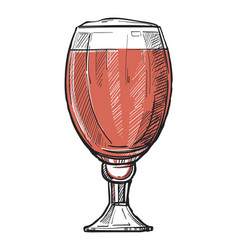 glass of beer freehand pencil drawing vector image vector image