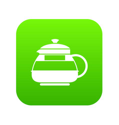 glass teapot icon digital green vector image