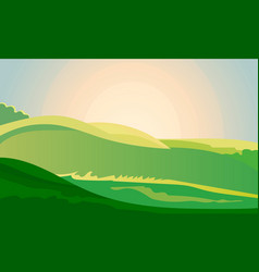 Green landscape field dawn above hills with grass vector