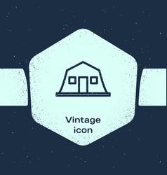 Grunge line military barracks station icon vector