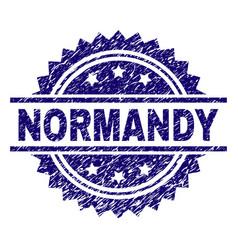 Grunge textured normandy stamp seal vector