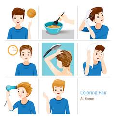 Hair coloring process steps young man vector