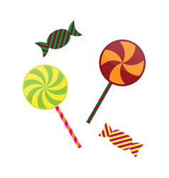 Halloween lollipop and toffee candy sweet set vector