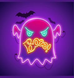 Halloween neon sign with angry ghost boo vector