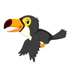 Happy bird toucan flying vector