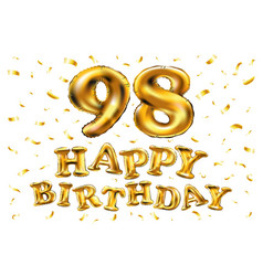 Happy birthday 98th celebration gold balloons and vector