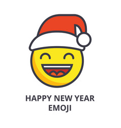 happy new year emoji line icon sign vector image