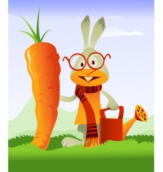 Happy rabbit and giant carrot vector