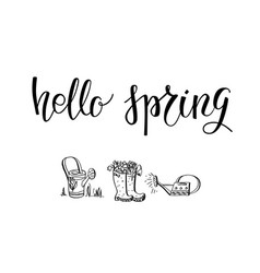 hello green spring lettering vector image