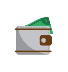 Isolated wallet with bill design vector image