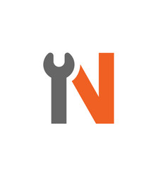 Letter n wrench logo orange and grey vector