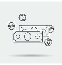 Line Art Money Icon vector image