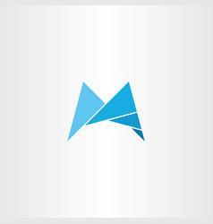 m logo light blue letter icon vector image