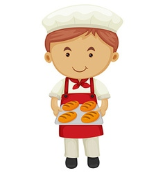 Male baker holding tray of bread vector