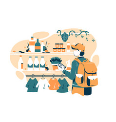 Man in grocery store vector