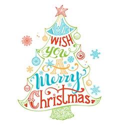 Merry Christmas Lettering inside the Christmas vector
