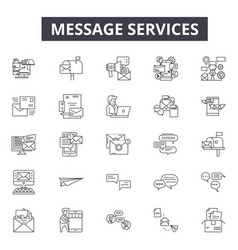 message services line icons signs set vector image