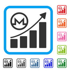 Monero growing graph framed icon vector