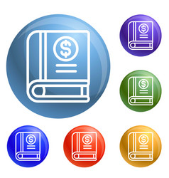 money book icons set vector image
