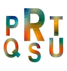 Mosaic alphabet letters PRSTQU vector