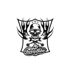 My lovely bike auto grunge crest with skull in vector