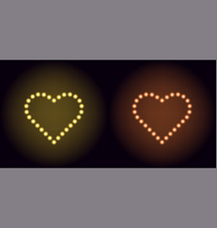 neon dot heart in yellow and orange color vector image