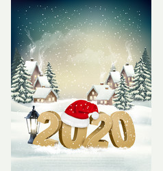 new year holiday background with 2020 and santa vector image