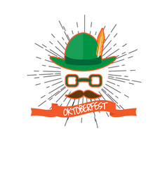 oktoberfest label with an abstract hipster avatar vector image
