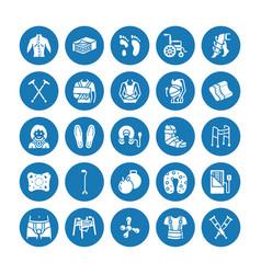 Orthopedics trauma rehabilitation glyph icons vector