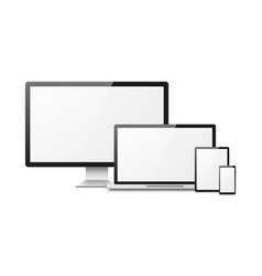 Realistic computer devices laptop tablet phone vector