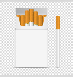 Realistic opened clear blank cigarette pack vector