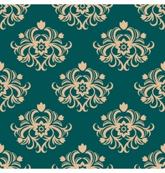 Repeat floral motifs in an arabesque pattern vector image