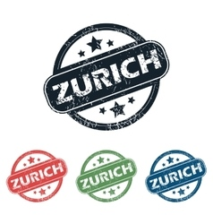 Round Zurich city stamp set vector