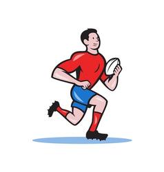 Rugby player running ball cartoon vector