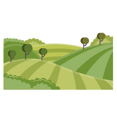 rural landscape with hills and fields - summer vector image