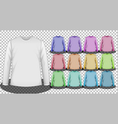 Set different color long sleeve t-shirt vector