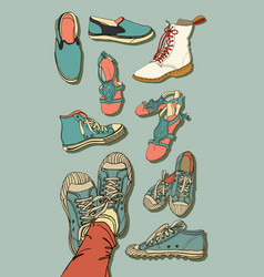 set of cartoon shoes vector image