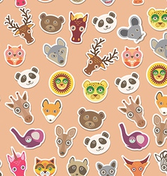 Set of funny animals muzzle seamless pattern pink vector image