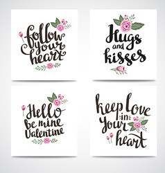 set trendy hipster valentine cards hand drawn vector image