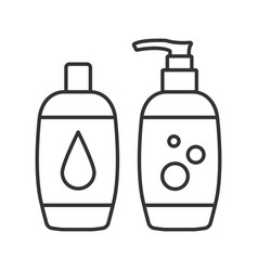 Shampoo and bath foam linear icon vector
