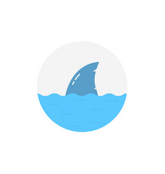 shark in water logo isolated on white background vector image