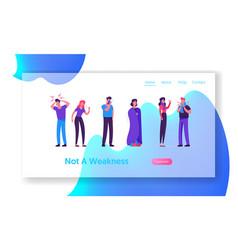 Sick men and women website landing page people vector